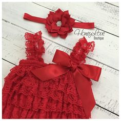 Christmas Red Lace Petti Romper and matching rhinestone lotus poinsettia flower headband hair bow - newborn infant toddler baby girl by HoneyLoveBoutique