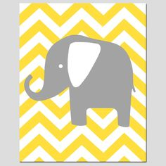 Nursery Wall Art - Modern Chevron Elephant Silhouette Print - 8x10 Chevron Zig Zag - Choose Your Colors - Shown in Yellow, Gray, and More. $20.00, via Etsy.