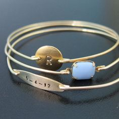 My Dear Baby Personalized Mom Bracelet by FrostedWillow on Etsy-- could even do an anniversary date instead!