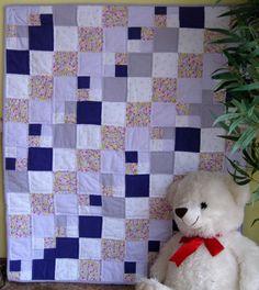 Lavender Floral Maze - unique handmade baby quilt - for sale