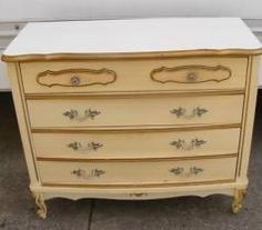 Sears furniture  I had the triple dresser and nightstand pictured     This is the chest of drawers I am starting with  Old Sears Bonnet French  Provincial furniture  identical to the set I grew up with
