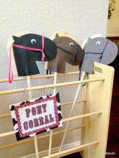 Local pick-up is available in Frisco, TX  **Please include the date you'll need your decorations by in the Message to Seller when checking out**  ============================================================================ This Hobby horse heads set of 4 is the perfect addition for your party!!  This listing is for 4 Hobby horse heads the stick IS NOT included. The wooden dowels can befind in your local craft stores for about $1 each, the Heads are made out of foam, felt and ribbon and are…