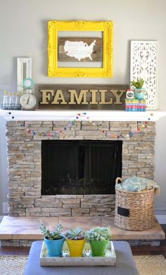 DIY Fireplace Wall Display Vintage Modern Wall Arrangements :: DIY Inspiration for your Home // Wall Art Wednesday Home Living Room, Living Room Decor, Little Miss Momma, Diy Fireplace, Fireplaces, Fireplace Stone, Shabby, Living Room Inspiration, Design Inspiration