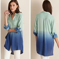•ombré button down hi lo top• Button down top features ombré coloring and two button front with 3/4 roll up sleeves.  Sheer, non lined. Material is 100% rayon. Tops Button Down Shirts