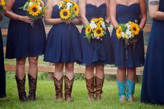 Navy blue & sunflower rustic country wedding More
