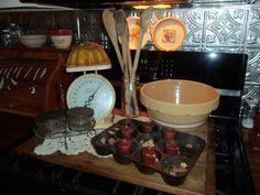 Stoveboard display with vintage goodies