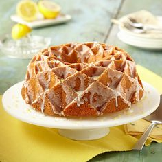 This lemon pound cake with a lemon glaze is filled with fresh lemon flavor. Bake as a bundt or loaf—and freeze up to one month! Lemon Desserts, Lemon Recipes, Just Desserts, Cake Recipes, Dessert Recipes, Bread Recipes, Lemon Pound Cake With Glaze Recipe, Glaze For Cake, Recipe Land