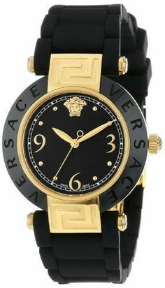 48447243632 Best Rated Watches Versace Women s Reve Ceramic Bezel Gold Ion-Plating  Black Rubber Watch