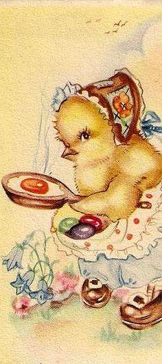 Very strange Easter card Easter Art, Hoppy Easter, Easter Eggs, Easter Illustration, Easter Garland, Old Cards, Easter Pictures, Vintage Greeting Cards, Vintage Postcards