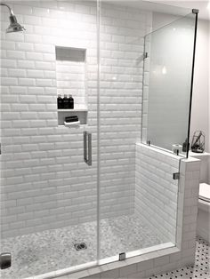This is a shower I designed in Woodland Hills with beveled white subway tile and frameless shower door. Shower faucet from Restoration Hardware. This was converted from an existing tub/shower. White Beveled Subway Tile, White Subway Tile Bathroom, Subway Tile Showers, Shower Niche, Shower Tub, Shower Faucet, Bad Inspiration, Bathroom Inspiration, Bathroom Ideas