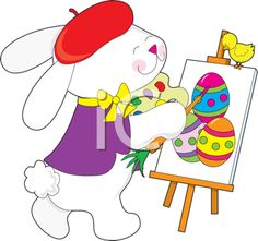 iCLIPART - Royalty Free Clipart Image of an Artist Bunny Painting Easter Eggs