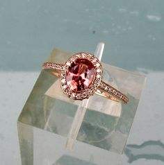 14k Rose Gold Peach Apricot Sapphire Diamond Halo Engagement Ring