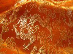 Chinese brocade fabric in orange with golden by TintinBeads