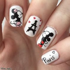 Nail Designs Eiffel Tower for Girls Eiffel Tower is one in every of the far-famed icons in Paris. I accustomed paint the tower on my nails and that i found thousands of how to form the mani pop. Today, i'm here to indicate you some nail styles too. Mickey Mouse Nail Art, Mickey Nails, Disney Acrylic Nails, Cute Acrylic Nails, Es Nails, Hair And Nails, Cute Nail Art, Cute Nails, Eiffel Tower Nails