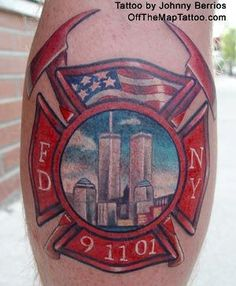 This beautiful tribute tattoo was inked by Johnny Berrios. #inked #tribute #neverforget #nyc #fdny #twintowers