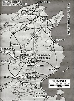 Operation Map 14 february 1943, Tunisia front line, pin by Paolo Marzioli