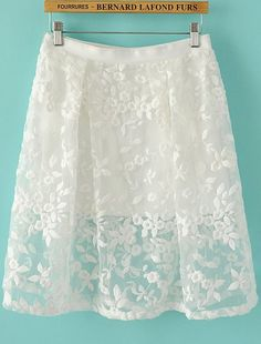 White Embroidered Organza Skirt - Fashion Clothing, Latest Street Fashion At Abaday.com