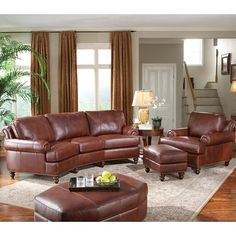 Elegant and traditionally styled, Leather Conversational Sofa with Nailhead Trim at Darvin Furniture