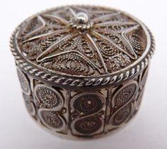 Fine-filigrane-croix-maltaise-Argent-Sterling-pilule-bijou-ring-box