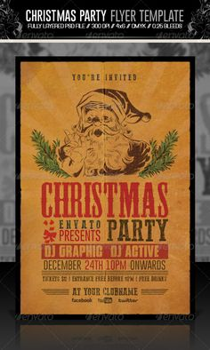 Christmas Party Flyer / Invitation Retro — Photoshop PSD #western #flyer •…