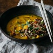 20 Minute Turmeric-Miso Soup with soba noodles