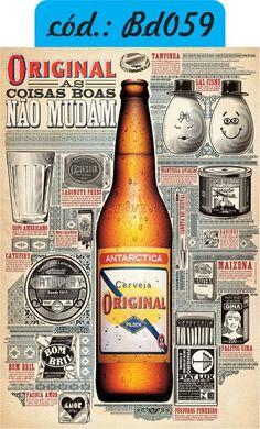 """Cerveja Original """"Original"""" beer brand poster, from Brazil. Bar Retro, Vintage Bar, Up Imagenes, In Vino Veritas, Old Signs, How To Make Beer, Old Ads, Best Beer, Vintage Advertisements"""