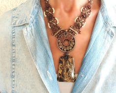 Brown jasper boho micro-macrame necklace casual Super Duo Beads, Gold C, Micro Macramé, Macrame Necklace, Blue Lace Agate, Creations, Brass, Jasper, Chain