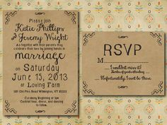 Printed Wedding Invitation with RSVP card - Kraft Hand Drawn Bohemian Style. $4.50, via Etsy.