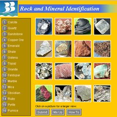 7 different websites listed for Rocks and Minerals
