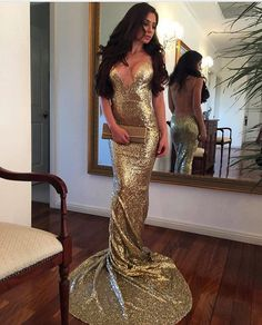 Prom Dresses,Evening Dress,gold Prom Dresses,sequin Evening Gowns,open Back Prom Dress,sparkly Eveni on Luulla