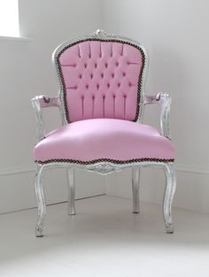 "Light Pink Bedroom Chair ""Baby""-this could be inspiration for a re-do project. This chair as it is would be a fun chair  inspiration for a ""couture"" office..."