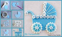 How to Make a Fondant Baby Carriage Cake Topper Gateau Baby Shower, Baby Shower Cupcakes, Shower Cakes, Fondant Baby, Fondant Cakes, Cupcake Cakes, Car Cakes, Mini Cakes, Cake Topper Tutorial
