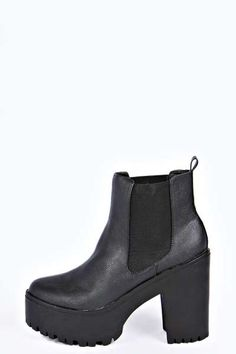 Catherine Cleated Deep Elastic Gusset Pull On Boot at boohoo.com