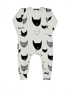 BEAU LOVES - Cat Print Long Sleeve Jumpsuit