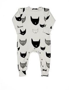 BEAU LOVES - Cat Print Long Sleeve Jumpsuit
