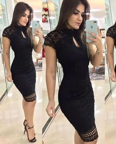 Round Neck Bodycon Mini Party Dress , Short Homecoming Dress With Lace Black Round Neck Bodycon Mini Party Dress , Short Homecoming Dress Wit – Simplepromdress Dress Outfits, Fashion Dresses, Cute Outfits, Black Women Fashion, Womens Fashion, Moda Fashion, Homecoming Dresses, Ideias Fashion, Lace Dress