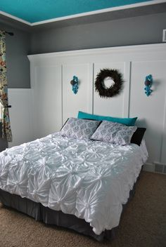 okay, so I will probably never make this beautiful DIY quilt/comforter. What I really pinned this for is because I like the paint and the way they did the ceiling.