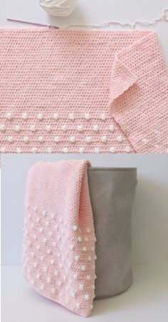 Free Pattern – Crochet Polka Dot Ends Baby Blanket – Knitting Patterns Free Crochet Afghans, Crochet Blanket Patterns, Baby Blanket Crochet, Crochet Stitches, Knitting Patterns, Crochet Crafts, Easy Crochet, Crochet Projects, Free Crochet