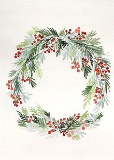 "10"" x 14"" Winter Hollies Wreath No. 2 - Original Painting"