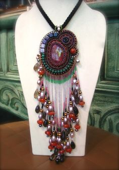 Unique beadwork. Jasper pendant beads Embroidery with Swarovski Crystal, Freshwater Pearl, Silver and natural stone. I made only one piece. This good