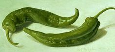 Eliot Hodgkin  Two Green Chilli Peppers  1972