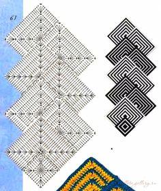 Motif Mandala Crochet, Crochet Motifs, Crochet Blocks, Crochet Stitches Patterns, Crochet Squares, Crochet Granny, Diy Crochet, Crochet Doilies, Blanket Crochet