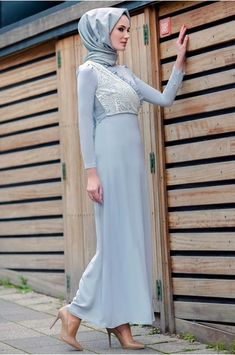 4a16a7accfcb1 Minel Aşk Gri Otriş Abiye Elbise | Online Tesettür Alışveriş | Pinterest
