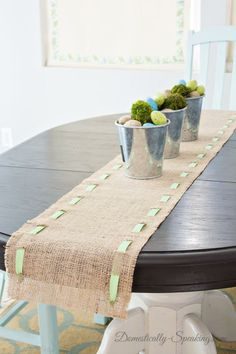Spring Runner: Burlap and Green & White Chevron Ribbon