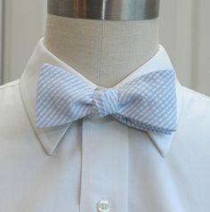 Men's Bow Tie in pale blue seersucker by CCADesign on Etsy, $28.00