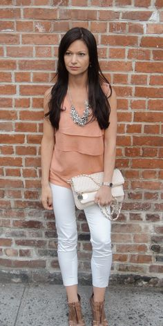 simple soft pink top with white capri pant