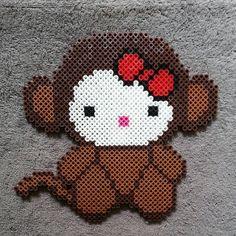Monkey Hello Kitty perler beads by dezarroyo