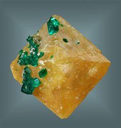 Wulfenite with Dioptase - Namibia
