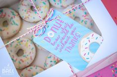 Say thank you with donuts! Free printable from Make Bake Celebrate!