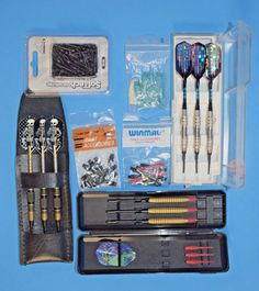 Mixed Lot of Pre-Owned Throwing Darts, Tips, Fins, Assorted EUC! Winmau  #Unbranded